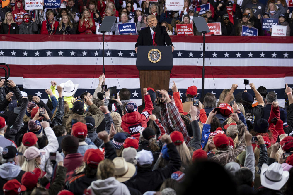 """At a rally in Valdosta, President Donald Trump continued to make baseless claims about the 2020 election being """"rigged"""""""