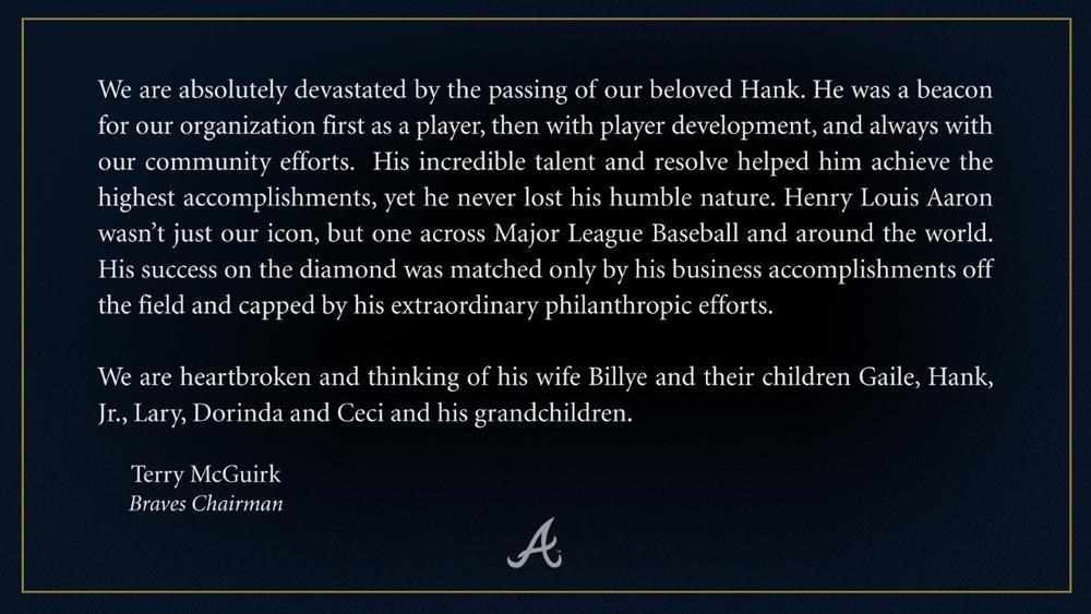 Atlanta Braves honor Hank Aaron
