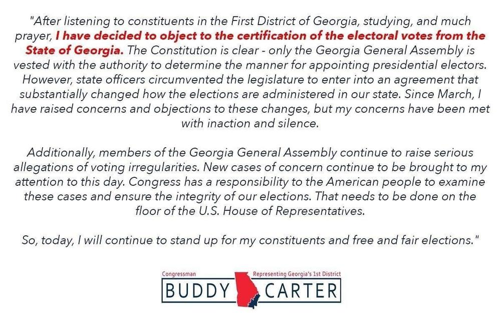 Rep. Buddy Carter statement on objection to certification of electoral college votes