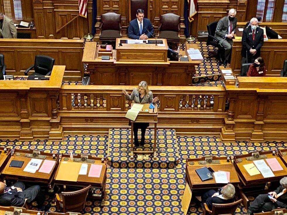 State Sen. Jen Jordan (D-Atlanta) slammed Republican-held election fraud hearings during the legislative session on Jan. 12, 2021.