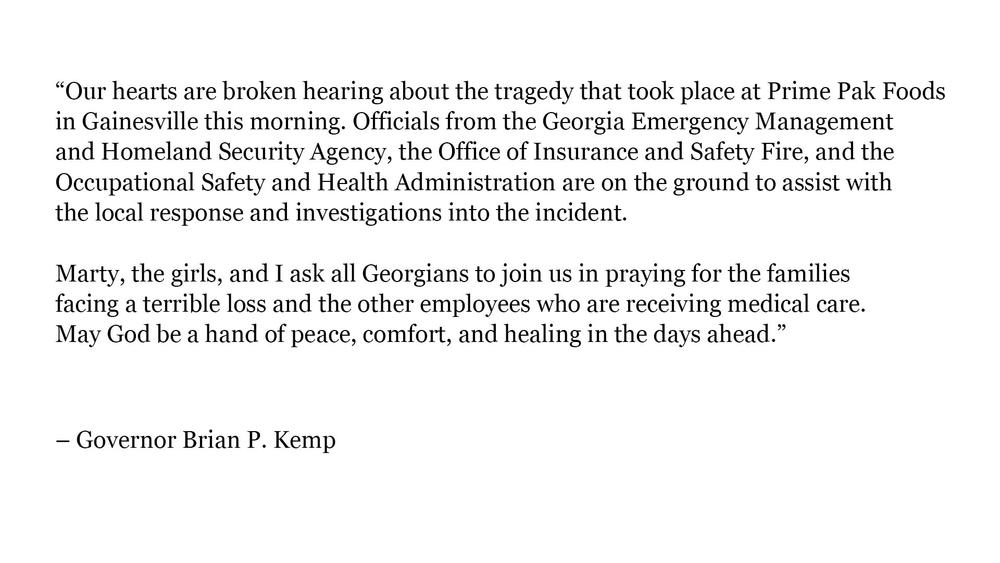 Gov. Kemp releases statement following tragedy at Gainesville poultry plant.