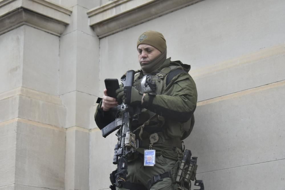 Armed state troopers stood outside the Georgia capitol's entrances on the first day of the 2021 legislative session.
