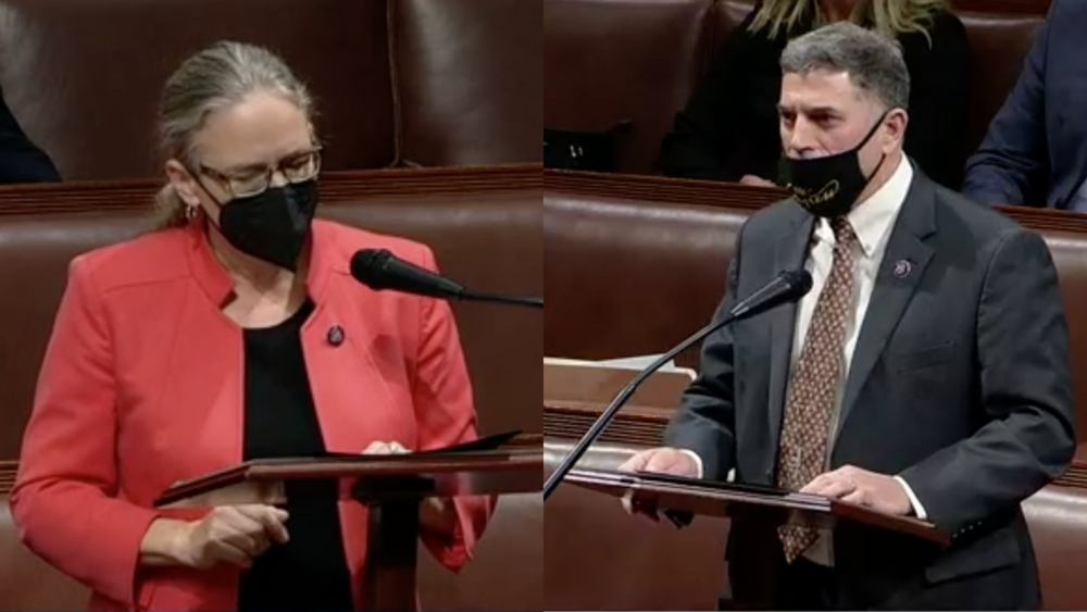 A split screen image of U.S. House Reps. Carolyn Bordeaux and Andrew Clyde.