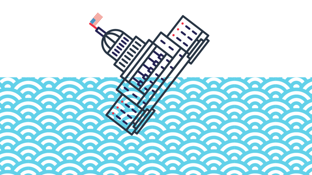 An illustration of the capitol sinks in the ocean.