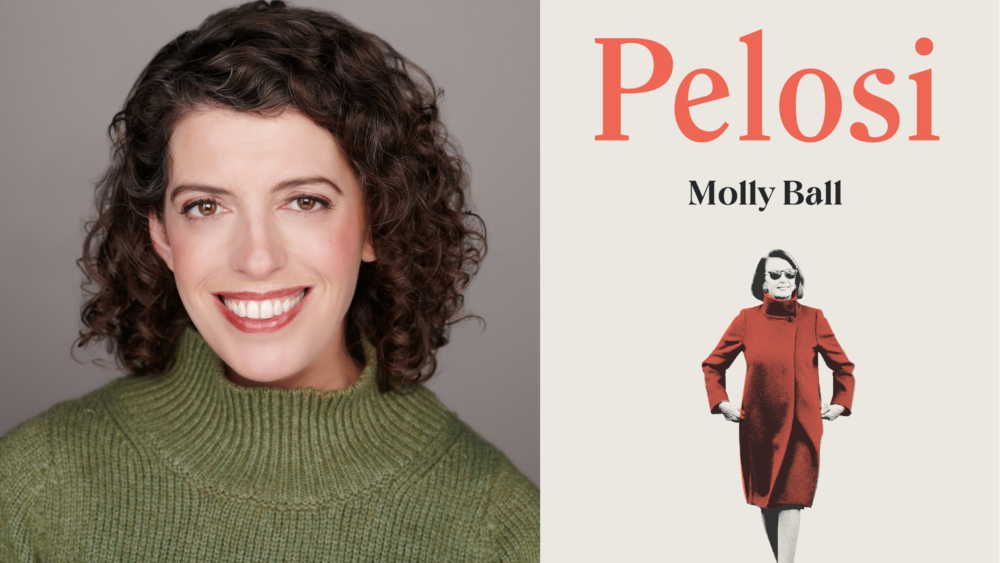 A side-by-side shot of author Molly Ball and her book Pelosi.