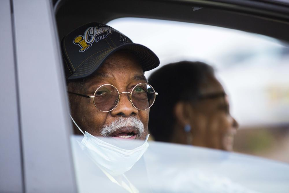 Christopher and Doris Blackmon of Jonesboro sit in a car at the Macon mass vaccination site Monday, Feb. 22, 2021.