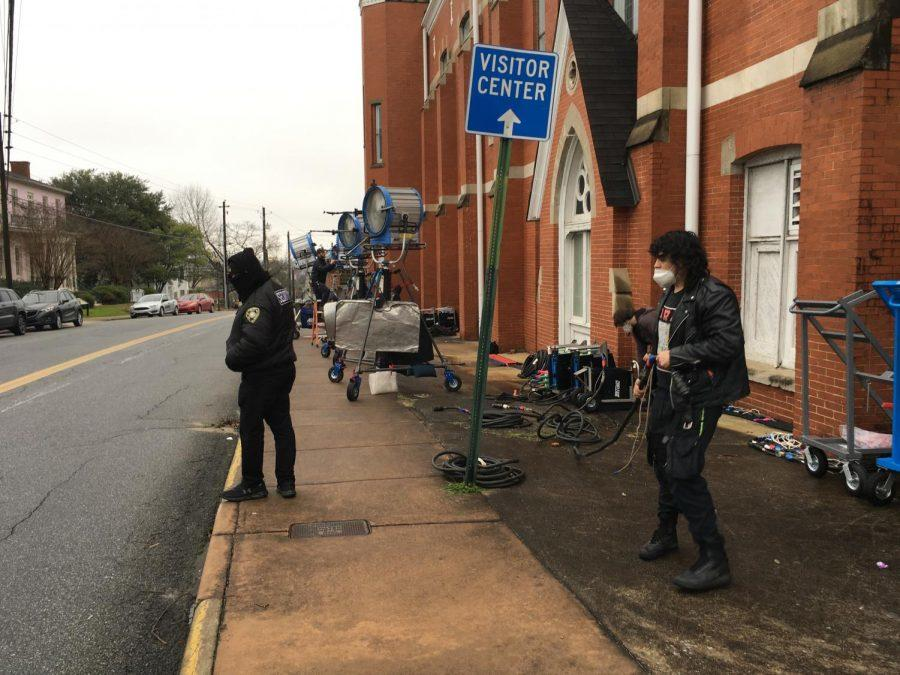 """Crews set up lights Friday morning at First Baptist Church of Christ for filming scenes for an upcoming Showtime series """"First Ladies"""" starring Viola Davis as Michelle Obama."""