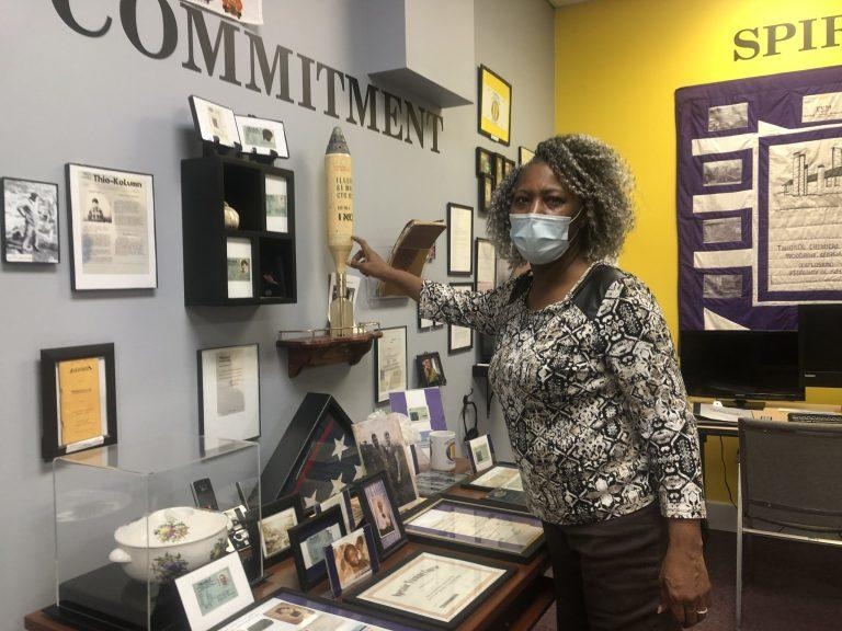Jannie Everette at the Thiokol Memorial Project museum in Kingsland.