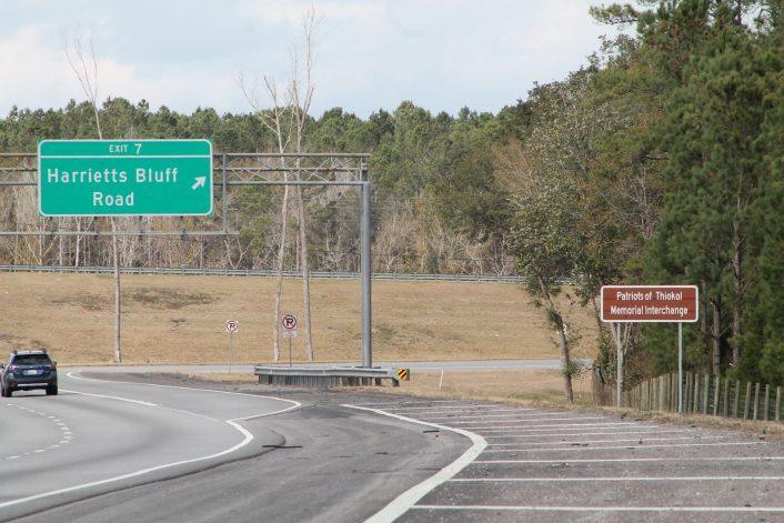 Patriots of Thiokol Memorial Interchange at I-95 and Harriet's Bluff Road.