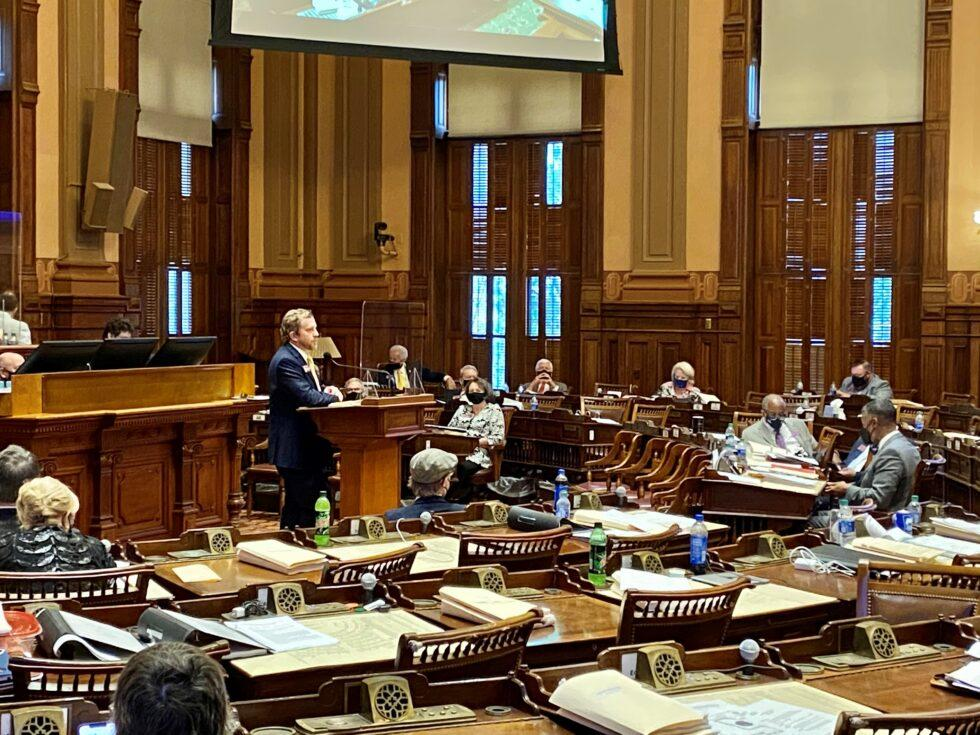 Rep. Bert Reeves, R-Marietta, speaks about his bill largely repealing citizen's arrests in Georgia just before its final passage in the state House of Representatives on March 31, 2021