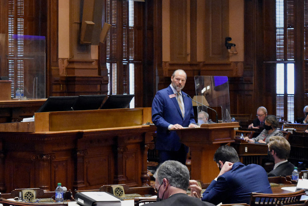 Rep. Barry Fleming (R-Harlem) speaks about a voting bill on the Georgia House floor.