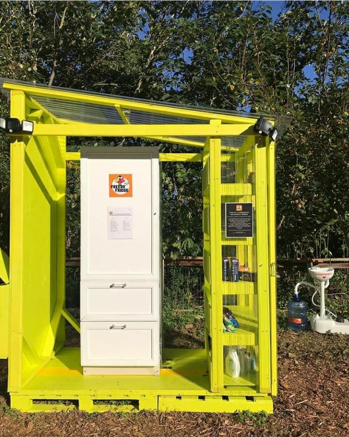 Free99Fridge's brightly colored yellow refrigerator and pantry unit