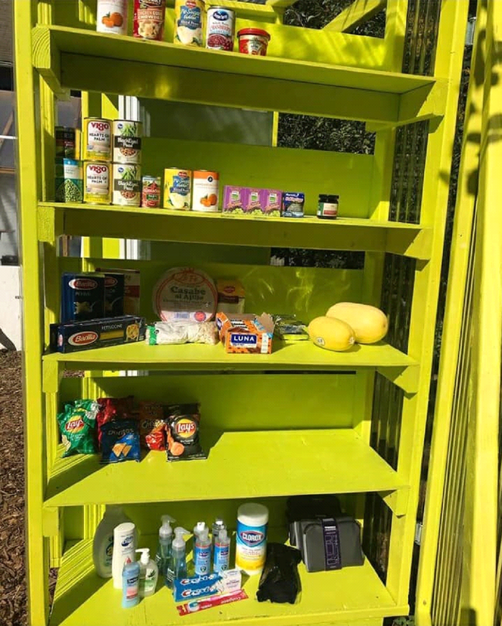 A Free99Fridge stands in an Atlanta area neighborhood, stocked with food for those in need.