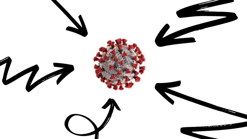 An illustration of arrows pointing at a virus.
