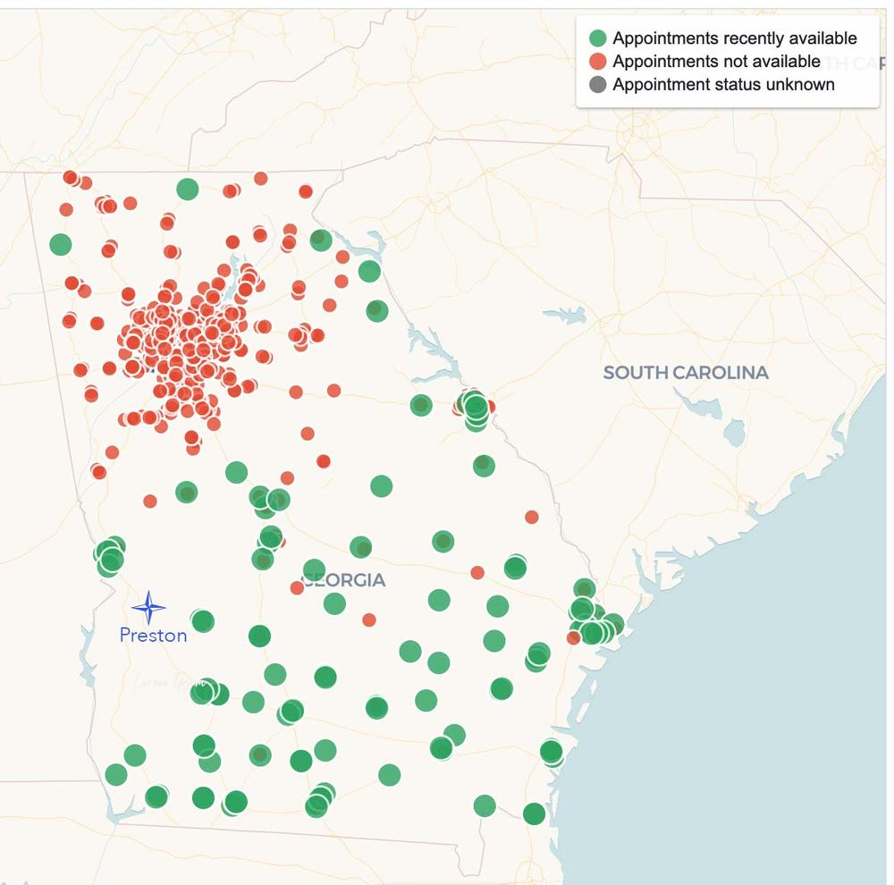 A map from vaccinspotter.org showing chain pharmacy COVID-19 vaccine providers across Georgia. Webster County is in a swath of the state with no chain pharmacies.