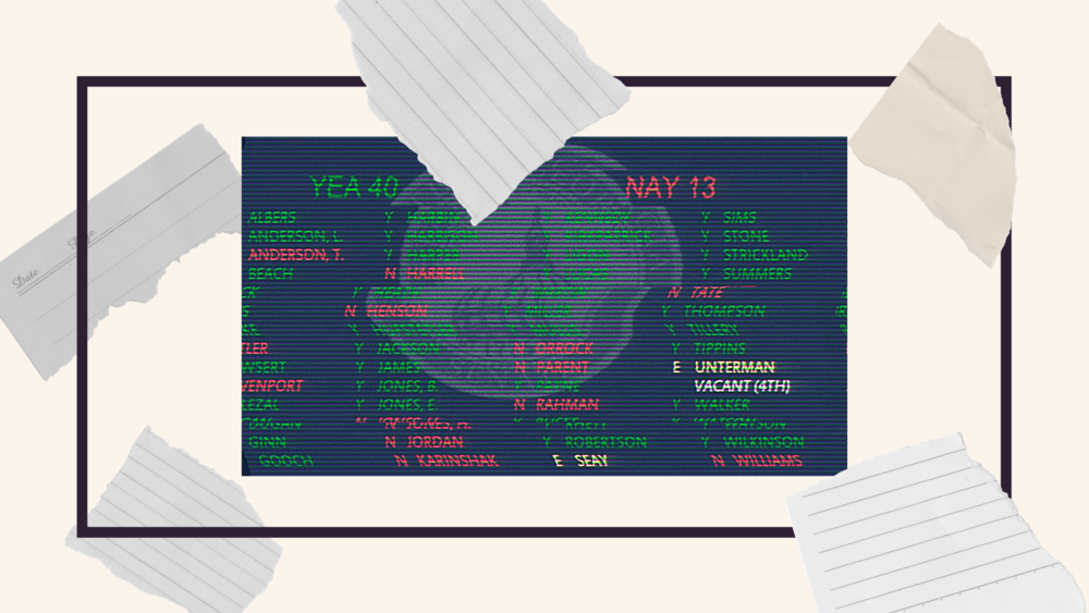 An illustration of paper falling over a screen showing a vote on a bill.