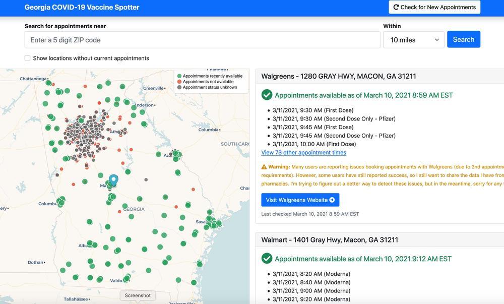 A screenshot from Nick Muerdter's Georgia Vaccine Spotter.