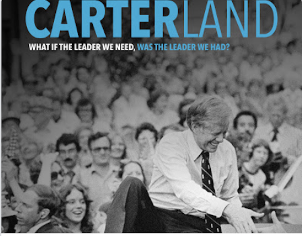 Former President Jimmy Carter riding atop a car in 1979 through Bardstown, KY., shown in the trailer poster for the documentary film Carterland, produced and directed by Jim and Will Pattiz.