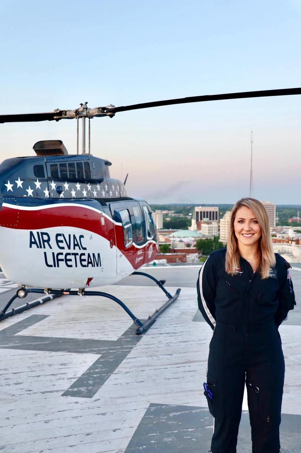 Britta Thomason, a Peach County native, leads the Air Evac Lifeteam base in Dublin, Georgia.