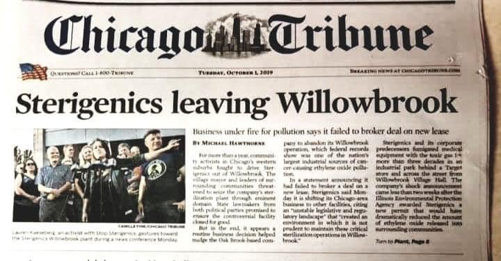 Cover of the Chicago Tribune announcing the departure of Sterigenics from Willowbrook.