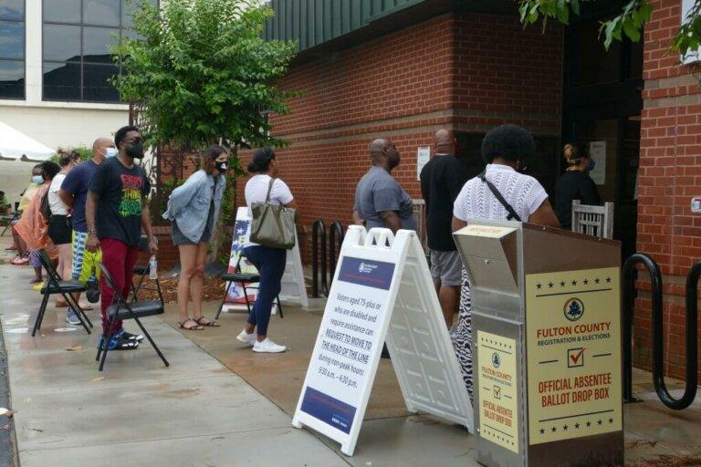 People waiting on line to vote in Atlanta