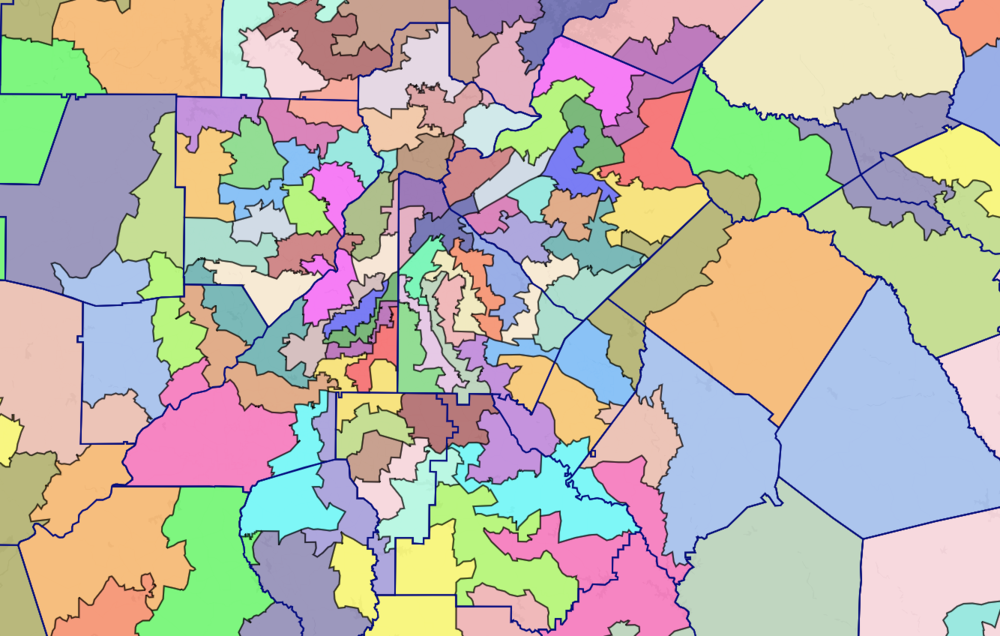 A map of Georgia State House districts in metro Atlanta.