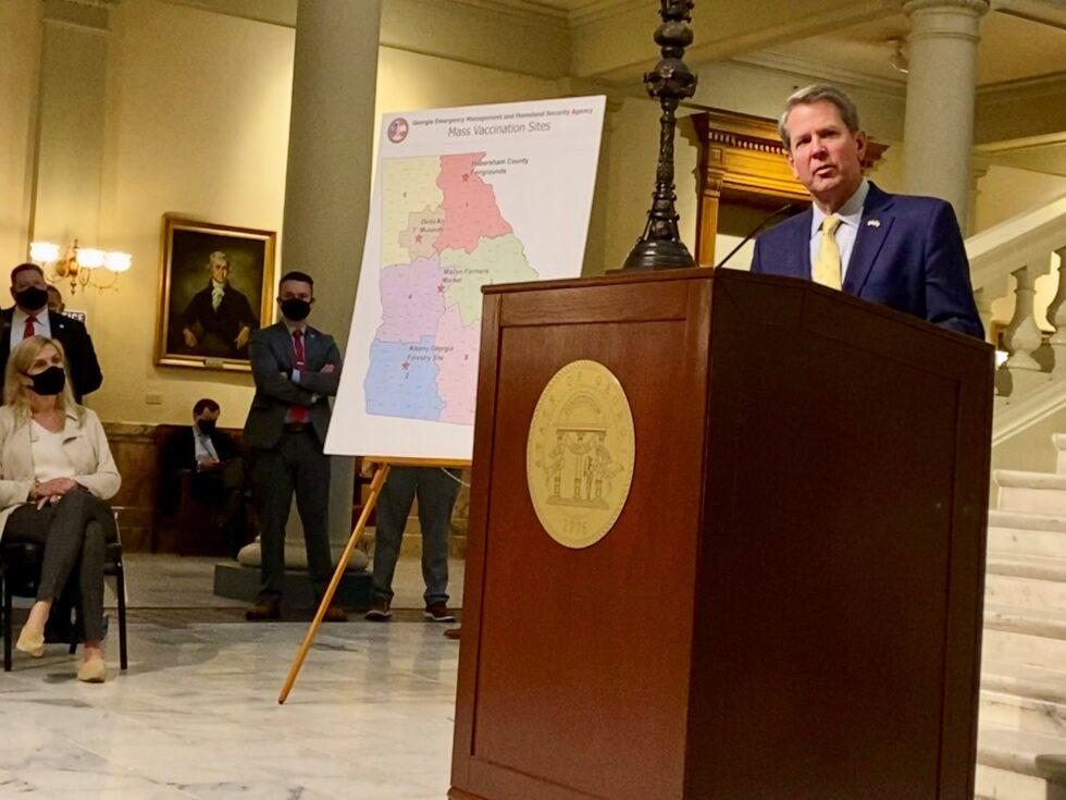Gov. Brian Kemp announced four mass COVID-19 vaccination sites are set to open in Georgia on Feb. 18, 2021.