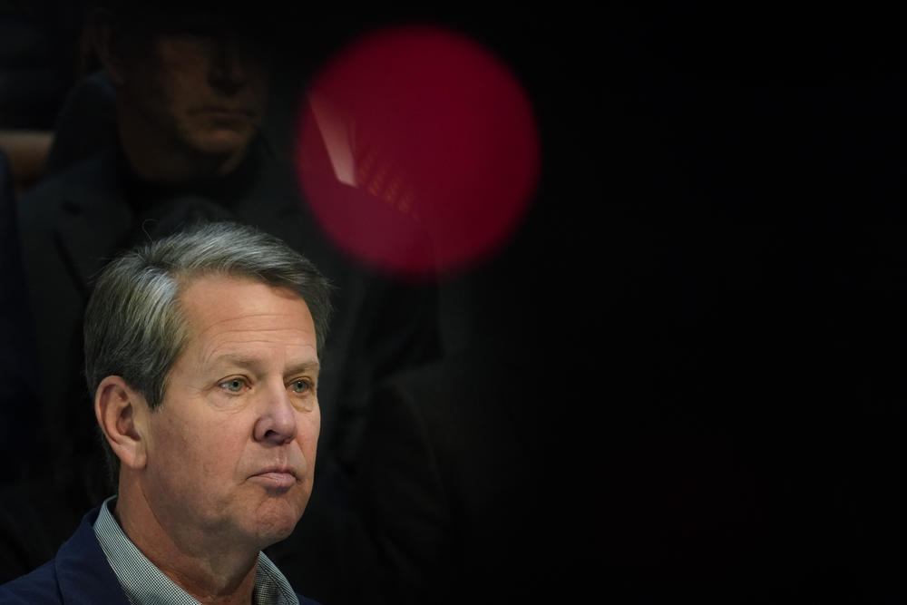 Georgia Gov. Brian Kemp speaks during a news conference at the State Capitol on Saturday, April 3, 2021, in Atlanta.