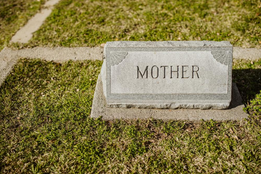 """A tombstone that says """"mother."""""""