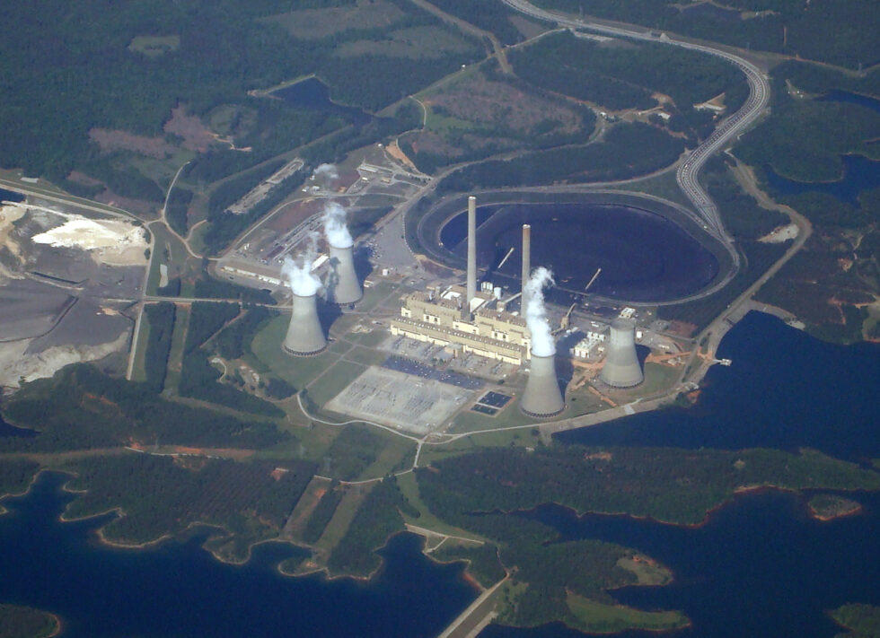 An aerial view of Georgia Power's Plant Scherer