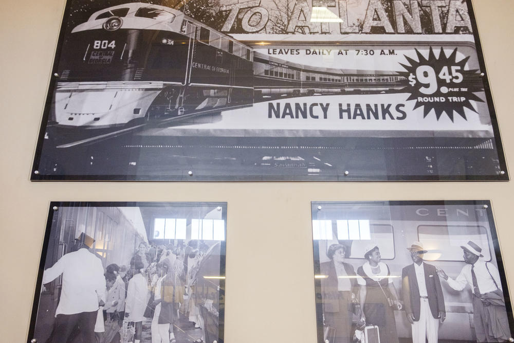 Archive photos of the last generation of passenger rail between Atlanta, Macon and Savannah adorn the walls of Terminal Station in Macon.