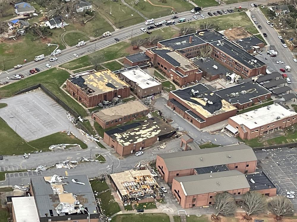 Tornado Damage to Newnan High School Campus