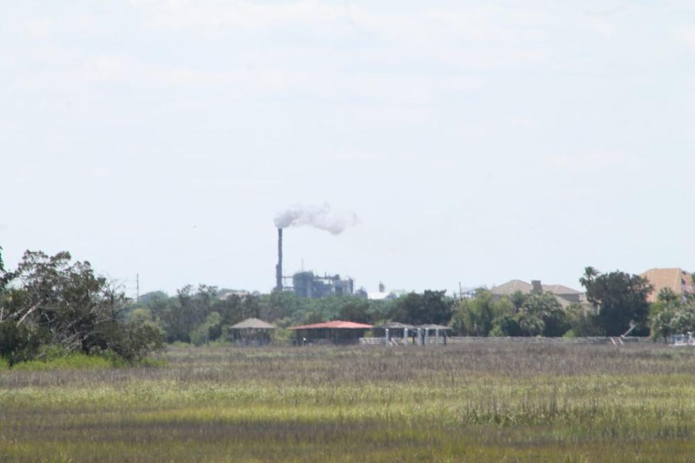 The smoke stack at the Brunswick Plant is a century-old landmark that can be seen from the causeway connecting the city to St. Simons Island.