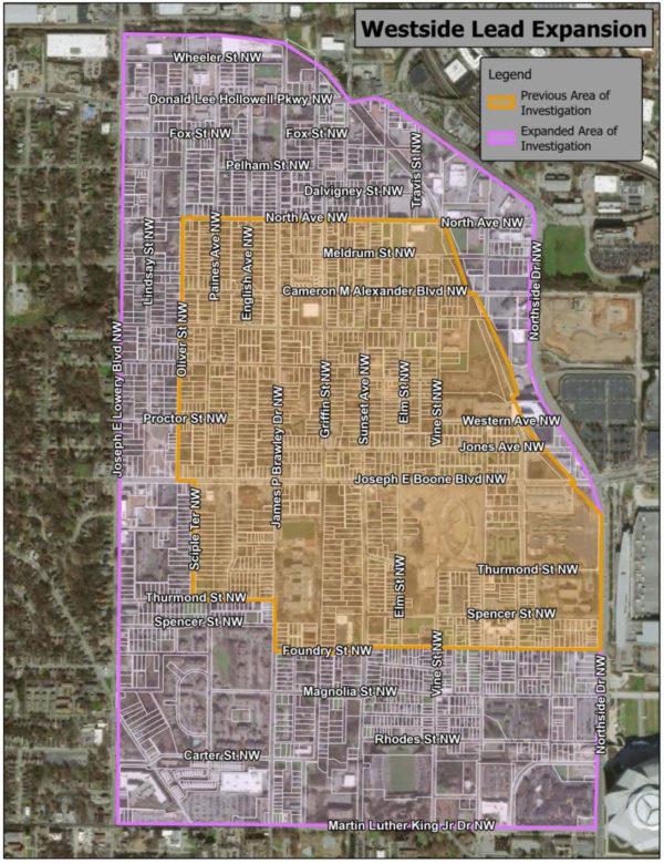 Map of areas of investigation of lead in Westside neighborhood.