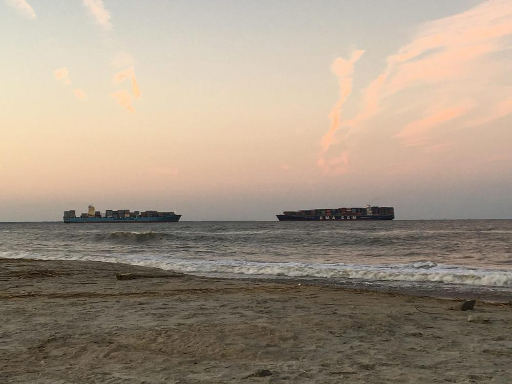 Freighters moving to and from the Port of Savannah meet along the channel off Tybee Island's North Beach. Water quality is tested there weekly.