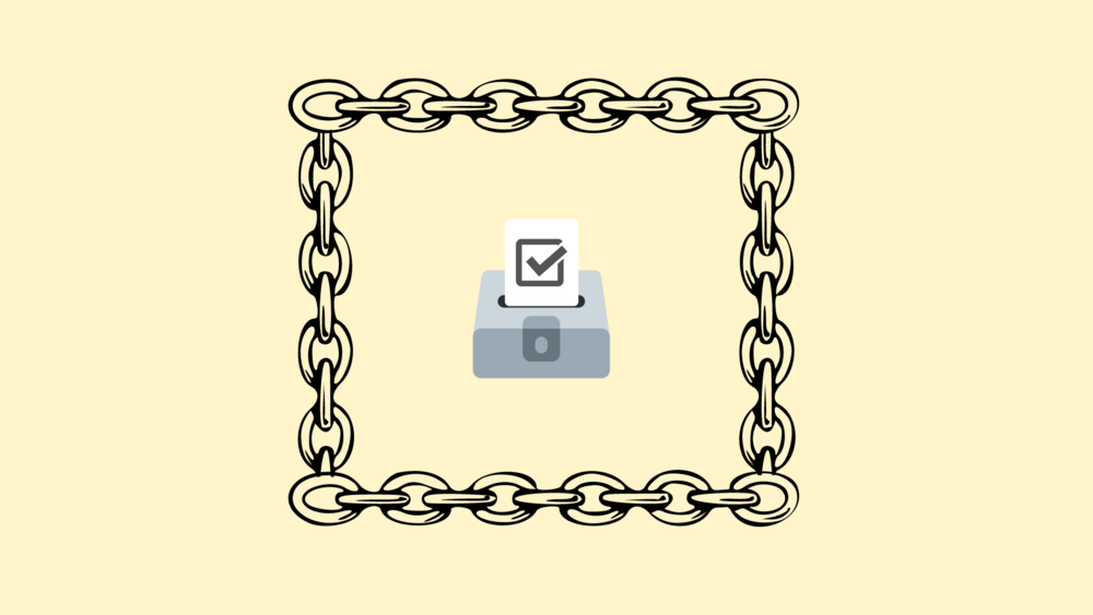 An illustration of a ballot box behind chains.