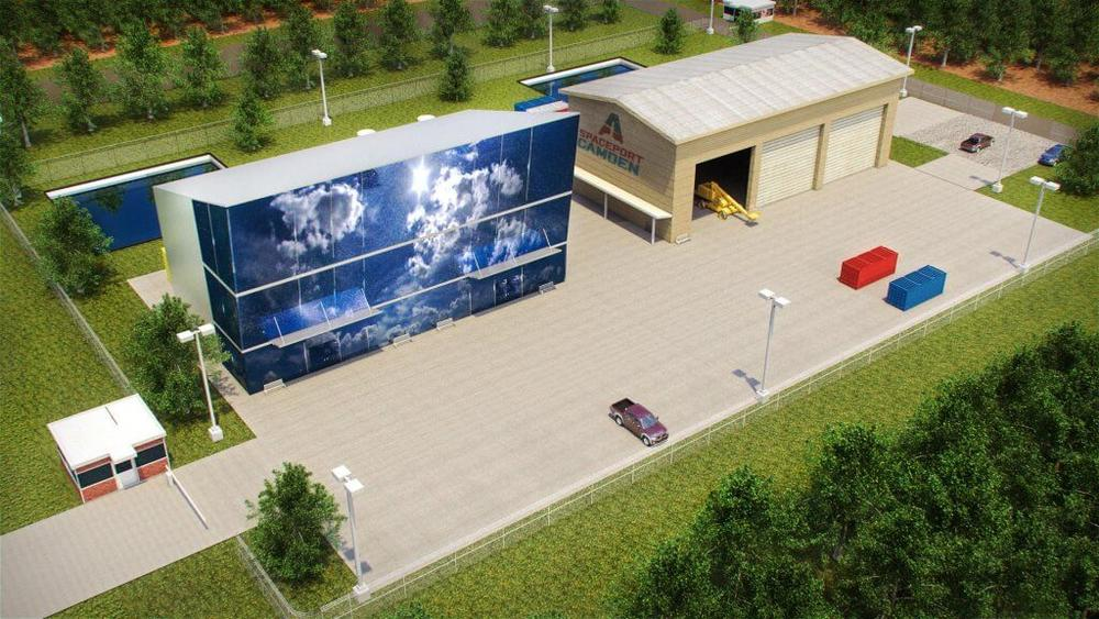 The Federal Aviation Administration is planning to announce July 19 whether to approve a permit for the controversial Camden County Spaceport. This rendering depicts launch control and payload processing centers.