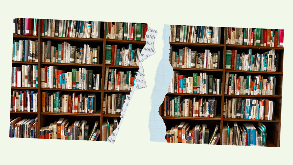 An illustration of a photo of books being torn.