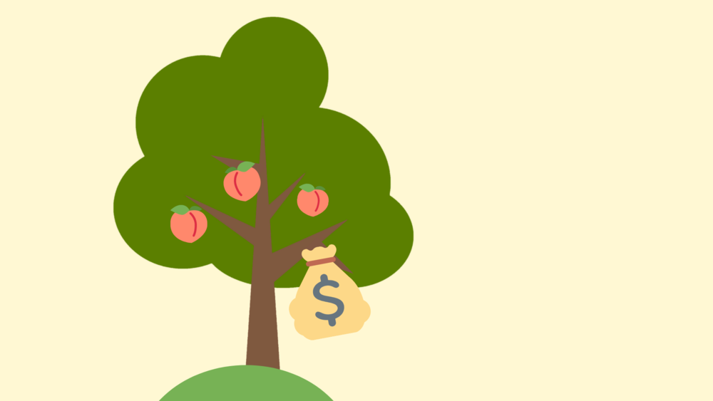 An illustration of a peachtree with a moneybag in it.