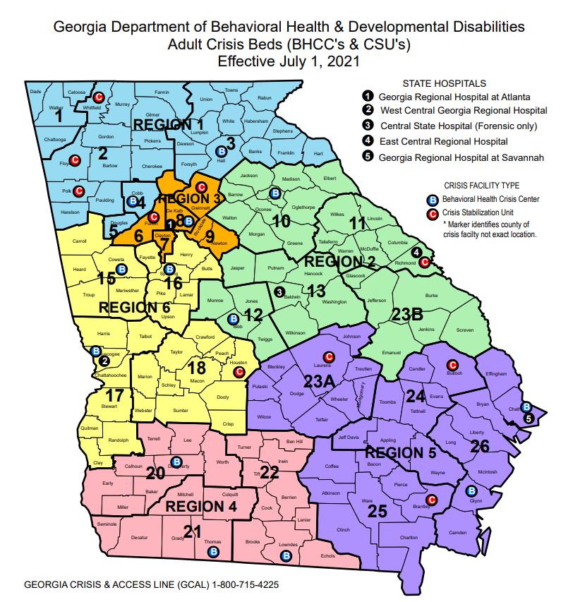 Georgia map of crisis beds