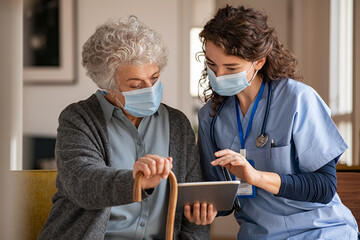 Home health care worker with client