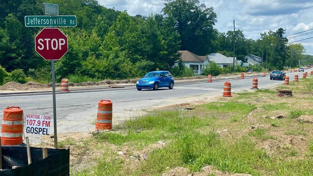 Construction workers adding sidewalks to a stretch of Jeffersonville Road found what is believed to be an old grenade, possibly from Camp Wheeler.