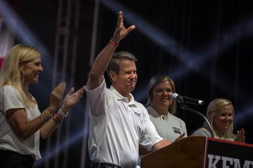 Gov. Brian Kemp kicks off his reelection campaign at the Georgia National Fairgrounds on July 10, 2021.