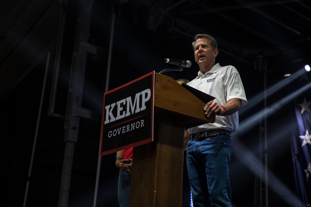Gov. Brian Kemp touted his track record as governor during the launch of his reelection campaign in Perry, Ga., on July 10, 2021.
