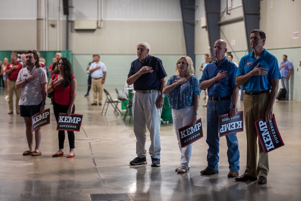 Supporters of Republican Gov. Brian Kemp gather at the Georgia National Fairgrounds in Perry, Ga., on July 10, 2021, to support his reelection bid.