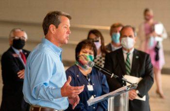"""Gov. Brian Kemp tweeted Wednesday that Georgia """"will not lock down or impose statewide mask mandates."""