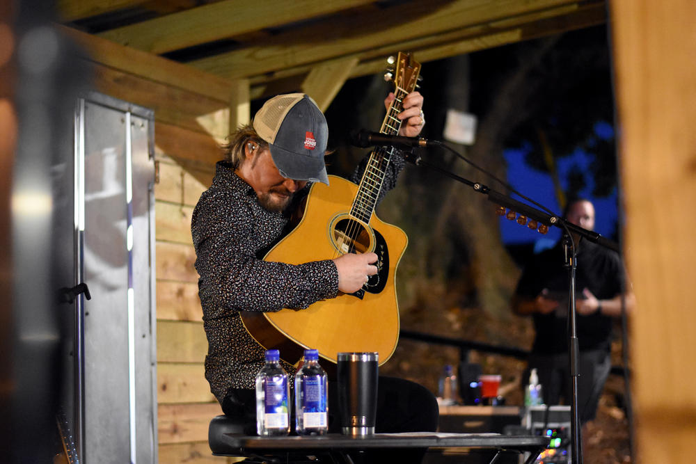 Country music star Travis Tritt performs at a fundraiser for Republican gubernatorial candidate Vernon Jones on Lake Lanier July 14, 2021.