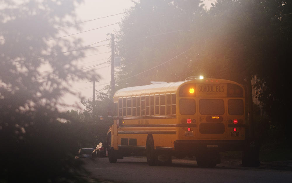 A Bibb County Schools bus on a morning route.