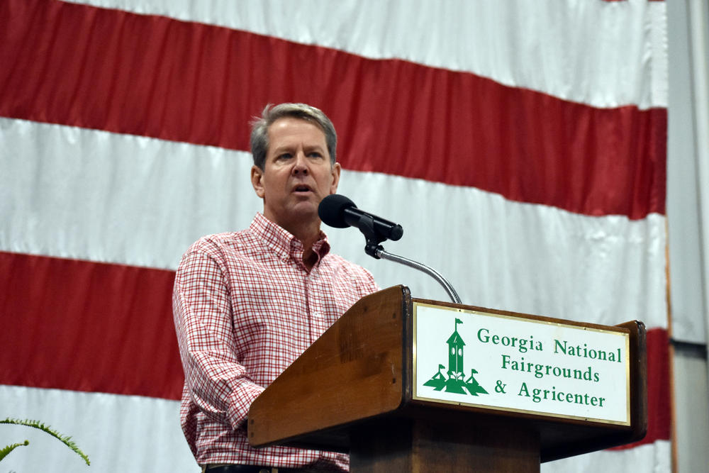 Gov. Brian Kemp speaks at the 8th District GOP Fish Fry in Perry Saturday, Aug. 28, 2021.