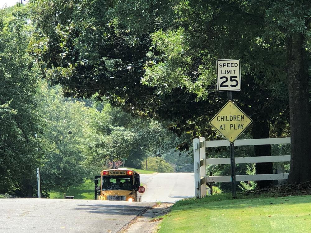 A school bus seen on a residential street Aug. 2, 2021